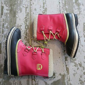 SOREL Pink Leather YOUTH YOOT PAC Boots 7 39
